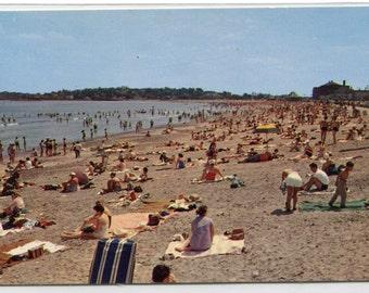 Revere Beach Crowd Scene Boston Massachusetts postcard