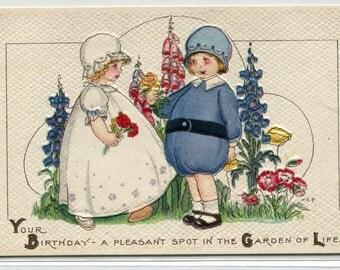 Garden of Life Boy Girl Happy Birthday Greetings Margaret Evans Price MEP artist 1910c postcard