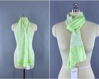 Vintage 1960s Silk Scarf / 60s Silk Kimono Scarf Obiage / Silk Wrap Obi / Citron Green & White Shibori