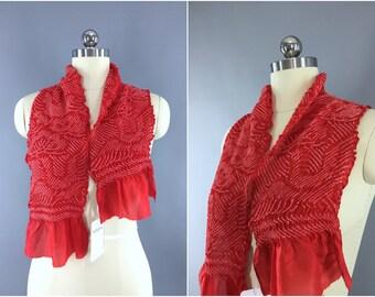 Vintage 1960s Silk Scarf / Silk Kimono Obiage / Silk Wrap Sash Obi / Spring Summer Scarf / Red & White Flying Cranes Birds Shibori
