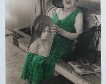 Vintage Photograph Down Memory Lane , Hand Colored, Lady w/ Her Younger Self