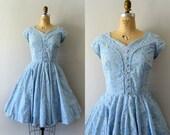 Vintage 1950s Dress - 50s Light Blue Gingham Floral Spring Dress