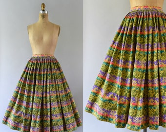 1950s Vintage Skirt - 50s Striped Floral Cotton Full Skirt