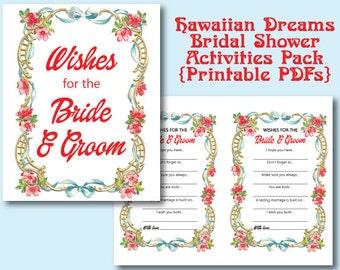 Hawaiian Dreams Bridal Shower 2 Printables | Activities | Games | PDF | Hawaii | Flowers | Leis | Oahu | Bride and Groom