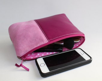 Medium Leather Pouch. Leather Bag. Leather Make-Up Bag. Leather Cosmetic Bag. Leather Clutch in Raspberry Pink and Pink Suede