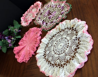 4 Assorted Crochet Doilies, Vintage Knit Doily, Whites and Pinks Lot 13694