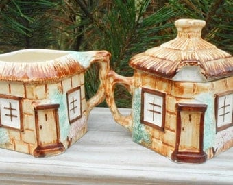 Cottage Ware Creamer and Covered Sugar Bowl 1946  Keele St. Pottery