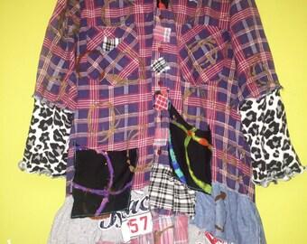 Mad for plaid flannel shirt jacket fits L/XL