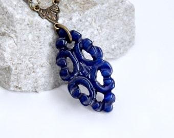 Carved Dark Blue Jade Pendant Necklace, Blue Stone Necklace, Filigree Lace Necklace, Asian Gemstone Necklace, Antique Brass Necklace, Unique