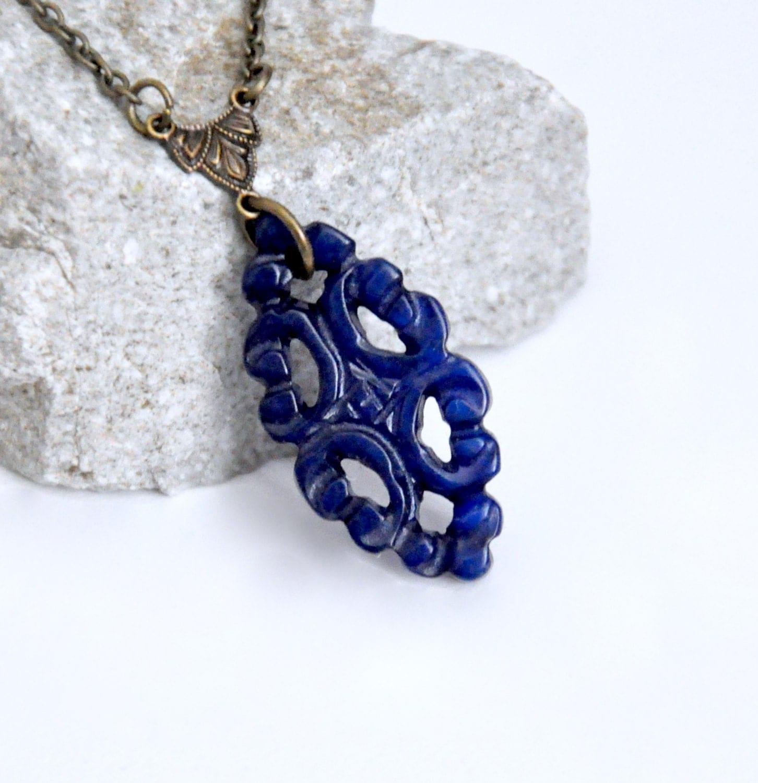 Carved Dark Blue Jade Pendant Necklace Blue Stone Necklace