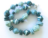 Teal Green and Blue Beaded Necklace, Ceramic Jewelry, Kazuri Bead Necklace, Statement Necklace