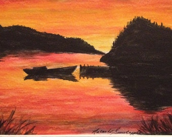 Morning Sunrise in Happy Adventure, Newfoundland   Watercolour pencil 5X7  matted to fit an 8X10 frame