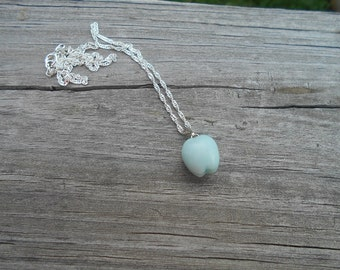 Natural Amazonite Apple Pendant Necklace