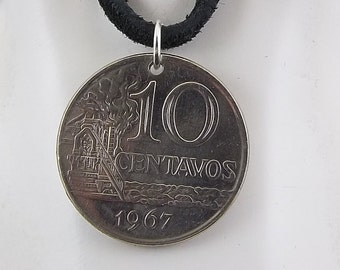 1967 Brazil Coin Necklace, Mens Necklace, Womens Necklace, 10 Centavos, Coin Pendant, Leather Cord, Vintage