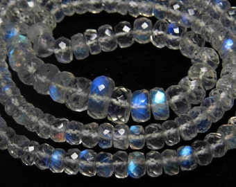 Rainbow Moonstone - AAAAA+ High Quality Micro Faceted Rondell Beads Nice Clear Full Blue Flashy Fire size - 3.5 - 7.5 mm - 17 inches Long