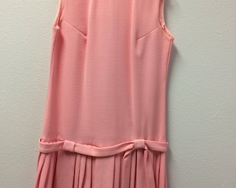 60s Mod Pink Dress Sleeveless Pleated Drop Waist Vintage S M 36 33 37