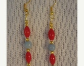 VALENTINES SALE Red Coral and Amazonite Almost Christmas Natural Stone 22k Gold Earrings -  Ashley F072