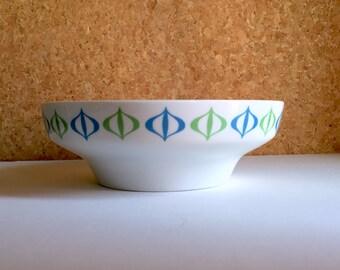 Paul McCobb Contempri Porcelain Bowl - Modernist 1950s Design - Bauble Pattern - Happy Blue Green Serving Tray - Rare - Mid Century Modern
