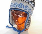 Traditional Peruvian-style Hand Knit Wool Winter Hat, Unisex
