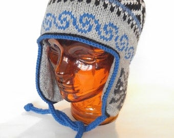 Traditional Peruvian-style Hand Knit Wool Winter Hat, Unisex