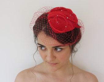 Handmade in Australia Red Vintage Cotton Velvet Feather and Diamante Teardrop 30s 40s Style Birdcage Fascinator Veiled Cap Hat