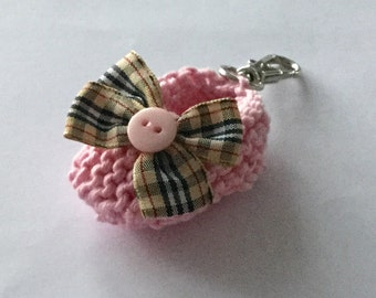 Girl baby shower favors - pink knit baby bootie key ring/ bag decoration - 2 inches - gingham bow - ideal new mom gift - ready to ship