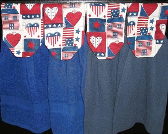 Hanging Kitchen Towels - Patriotic  - Home - Hearts