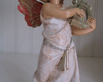 Depose #364 Original FONTANINI ANGEL playing the harp 1980s made in Italy in vintage colors of whites, pink and golds