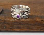Opal Amethyst & Heart 3 Spinner Ring