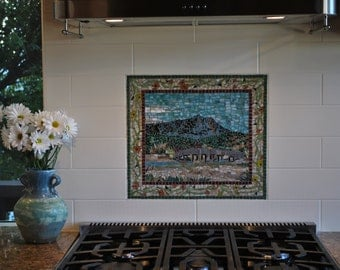 "Mosaic Backsplash Inset - Custom Designed - 12"" by 12"" - stained glass - glass tile - mosaic kitchen"