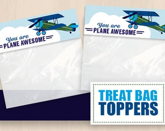 AIRPLANE Treat Bag Toppers in Navy Blue and Green- Instant Printable PDF Download