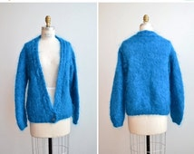 50% OFF CLEARANCE / SALE / Vintage 1980s handknit mohair wool cardigan