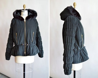 SALE / SANDRO quilted bomber jacket with fur trimmed hood