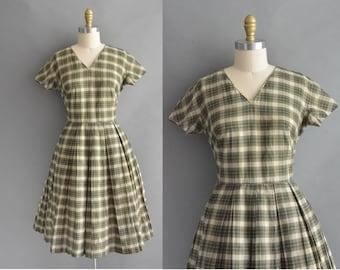 vintage 1950s dress / 50s green plaid cotton full skirt vintage dress