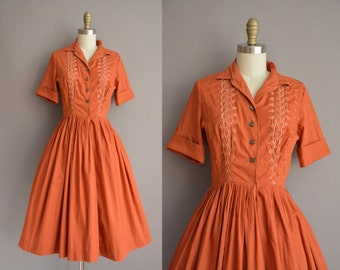 50s nutmeg Kerrybrooke cotton vintage shirt dress / vintage 1950s dress