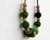 NEW!!! OOAK Shades of Green Teething Necklace for Baby Breastfeeding Necklace /Nurthing Necklace