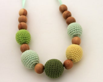 Summer Grass Sun Green Yellow Mom Nursing necklace / Teething necklace