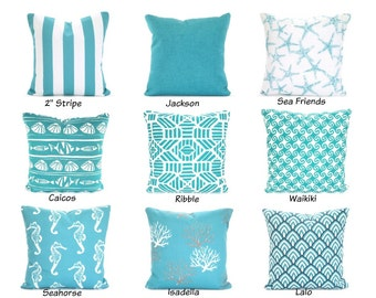 OUTDOOR Aqua Pillow Covers, Beach Decor Throw Pillows, Nautical Cushion Covers Ocean Blue White Mix & Match Patio One or More ALL SIZES