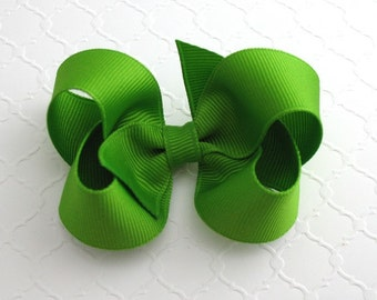 "3"" Apple Green Christmas Hair Bow ~ Girls Hair Bow ~ Classic Hair Bow ~ Toddler Girl Hair Bows"