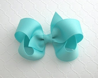 "3"" Aqua Boutique Hair Bow ~ Girls Aqua Hair Bow ~ Classic Hair Bow ~ Toddler Girl Hair Bows"