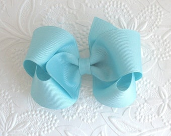 Pastel Baby Blue Girls Boutique Hair Bow, Toddler Hair Clip