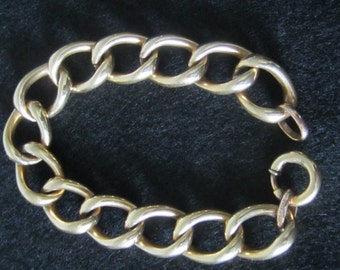 Chunky Antique Edwardian 12K Gold GF Curb Link Bracelet