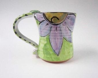 Ceramic Coffee Mug - Pottery Coffee Mug - Coffee Cup - Purple - Lime Green - Daisy Flower - Majolica Mug - 14 ounces - Flower Mug