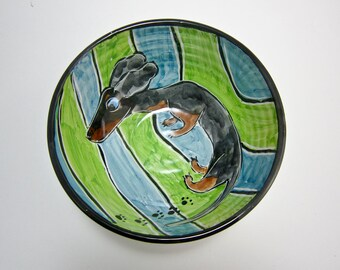 Ceramic Cereal Bowl - Black and Tan Dappled Dachshund Wiener Pet Dog- Small Serving Bowl - Blue Green Clay Bowl Majolica Handmade Doxie