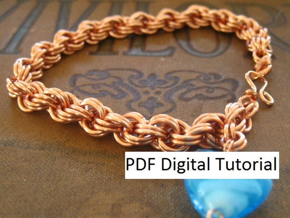 Basket Weave Chainmaille Tutorial : Double spiral weave chainmaille bracelet digital download