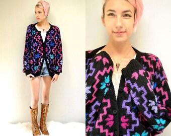 Alpaca Sweater //  Hand Made Wool Cardigan  //  CRISS CROSS