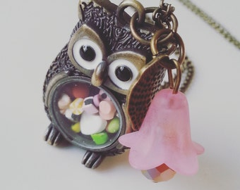 Sweet tHooth, Bronze owl,  sweets, candy, miniature,  long necklace, owl necklace, flower, by NewellsJewels on etsy