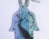 Ceramic Handmade Large Hamsa Fish Blue Green Animal Water Judaica Good Luck