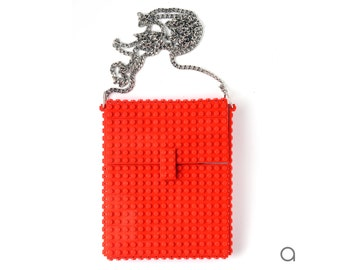 Red hip clutch on a chain made entirely with LEGO® bricks FREE SHIPPING crossbody purse handbag