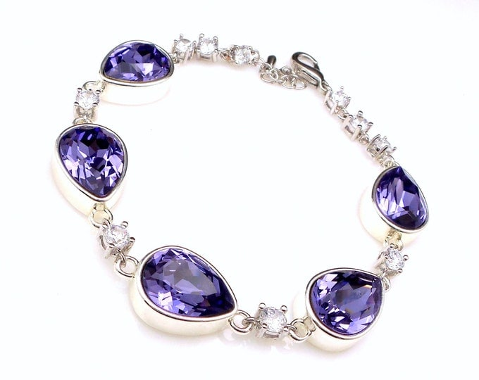 Wedding jewelry bridesmaid party gift bridal silver bracelet prom pageant swarovski tanzanite teardrop cut fancy rhinestone crystal bracelet